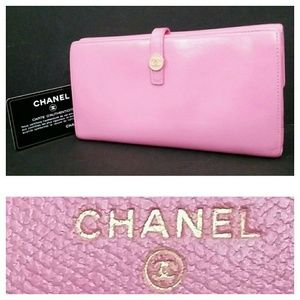 Auth Chanel Long Leather Wallet +Authenticity Card